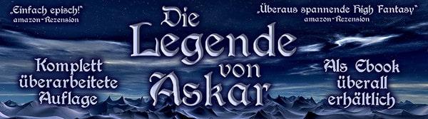 Werbebanner für Die Legende von Askar von Mike Bergemann