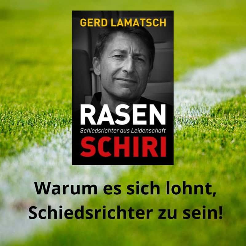 Werbebanner für RASENSCHIRI – Schiedsrichter aus Leidenschaft von Gerd Lamatsch